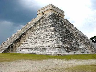 The Aztecs worship gods of sun and rain and built great temples, some of which remain today.