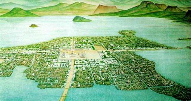 The Aztecs built the city of Tenochtitlan on an island. Mexico City is now centered on this site.