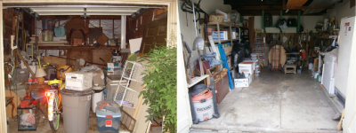 The garage before and after a couple trips to Goodwill.