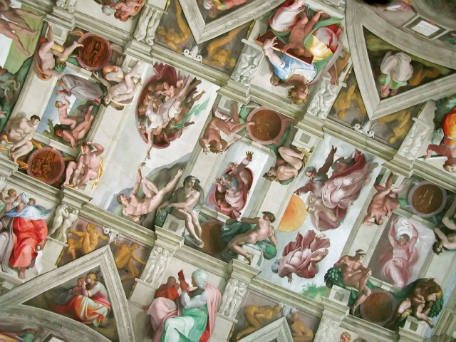 Photos are not allowed in the Sistine Chapel.  This photo courtesy of Wikipedia Commons.