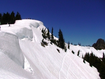 Our practice slope for self-arrest practice near Naches Peak Photo credit:  EasyTrails.com
