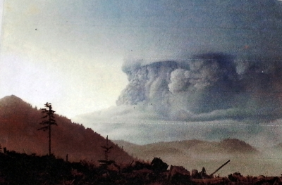Ash cloud of Mt. St. Helens soon after the May 18, 1980 eruption. Photo credit:  Joan Magin
